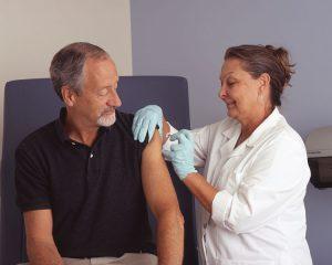 Nurse administers a vaccine