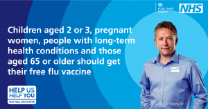 Children aged 2 or 3, pregnant women, people with long term health conditions and those aged 65 or older should get their free flu vaccine
