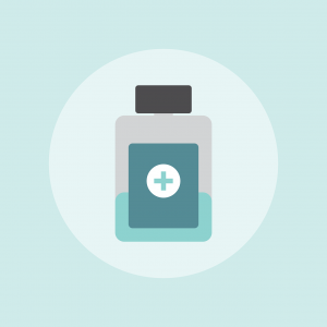 picture of a medicine bottle against a light blue background