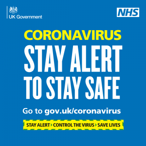 Coronavirus, stay alert to stay safe. Go to gov.uk/coronavirus