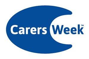 The words 'carers week' are spelt out in blue and white