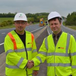 Gerhard Rink, project manager for Colas, with Cllr Carl Maynard, East Sussex County Council lead member for transport and environment, at the resurfaced A22 Golden Jubilee Way in Eastbourne