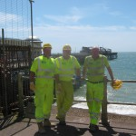 Bexhill to Hastings Link Road team members Steve Adams, Lea White and Vinnie Fuller helped with the restoration of Hastings Pier