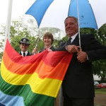 Pride Flag raising 2014 - Olivia Pinkney, deputy chief constable of Sussex Police, Becky Shaw, East Sussex County Council chief executive, and Cllr David Elkin, council deputy leader
