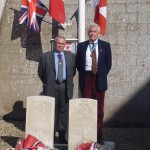 Cllr Colin Belsey, chairman of East Sussex County Council, and Christopher Gebbie, High Sheriff of East Sussex, at the Canadian avaiators' memorial at St Aubin le Cauf