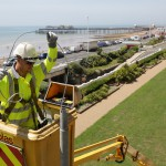 East Sussex County Council contractors converting old-style street lights in Hastings to modern LED lanterns