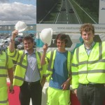 College and university students have been gaining practical experience working on the Bexhill to Hastings Link Road. From left: Tom Jones, from Pett, Oliver Shier, from Guernsey, Alix Sparkes, from Eastbourne, and Chris Perry, from south Wales