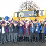 Youngsters from Willingdon Primary School with 'Gritt Lightning', one of East Sussex County Council's fleet of gritters