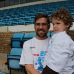Link Road worker Stephen Lapthorn, with son Christopher, raised more than £26,000 for juvenile diabetes research by walking around all 20 Premier League football grounds