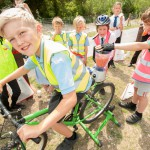 Launch of Lewes to Ringmer Cycleway - Aston Salvage-Page, from Ringmer Primary School, with Stanley Olden, and Jack Woodgate, from Ringmer Academy