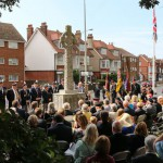 A ceremony was held in Seaford to unveil a memorial paving stone and plaque to town First World War hero Cuthbert Bromley, attended by dignitaries and members of Bromley's family