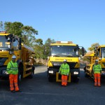 Preparing for winter - some of East Sussex's gritters are put through their paces at Ringmer Depot as part of Operation Snowdrop