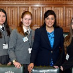 Young people from East Sussex attended a Democracy Awards Ceremony at Westminster. Pictured with MP Nus Ghani are Youth Cabinet members (from left): Stephanie Deans, Orla Phipps and Emma Garrood.