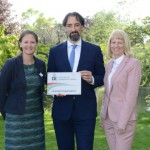 ESCC DofE Programme Co-ordinator Catherine Corfield (left) and Louise Carter receiving their DofE Licensed Organisation plaque from Alistair McGowan.