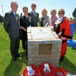 Deputy Lieutenant Colonel Richards (left) and the Mayor of Eastbourne Cllr Pat Hearn with Nelson Carter's grandson Spyke Baker and Spyke's sisters