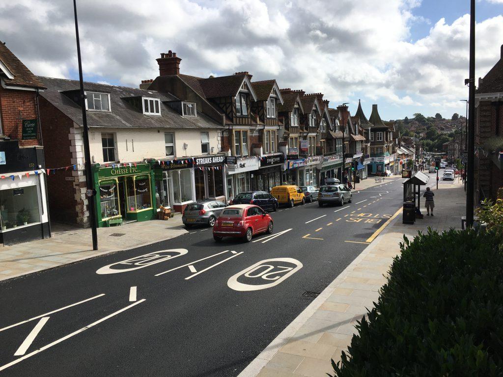 Uckfield High Street after highway improvement scheme