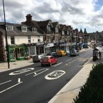 Uckfield High Street after completion of town centre improvement scheme