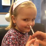 Four-year-old Grace Whitehead, from Eastbourne, receives the flu vaccination