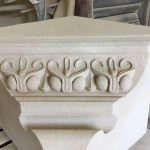 A new corbel stone which will replace the existing, degraded stone at the front of Hastings Library as part of a complete revamp of the Grade II listed building