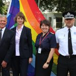 Flying the flag for Pride 2017 are (from left) Cllr David Elkin, Becky Shaw, Dawn Whittaker and Laurence Taylor