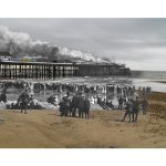 Composite pictures by Kieron Pelling merge scenes of the 1917 Hastings Pier fire with modern views