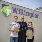 Willingdon Community School pupils Thomas Poole and Lauren Taylor, pictured with head teacher Emily Beer, achieved three grade 9 GCSEs in English and maths