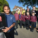 Youngsters from Sandown Primary School try the new pedestrian crossing on The Ridge
