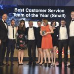 East Sussex Highways Team Members at the European Contact Centre and Customer Services Awards event in London with five-time Olympic gold medal-winning rower Sir Steve Redgrave (second from left) and BBC presenter Fiona Bruce (far right)