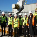Children from King's Academy, Ringmer with Cllr Rupert Simmons at the headquarters of Rampion Wind Farm, in Newhaven
