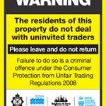 East Sussex Trading Standards No cold calling door sticker