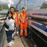 Julie Stockinger, pictured with (from left) Karl Brydon, David Cottell, Shane Arnold, brought gifts for the staff at Maresfield Household Waste Recycling Site