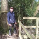 Countryside ranger Jack Cronin works on repairing a footbridge near Mayfield
